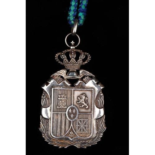 Antigua Medalla de Contador Mercantil en Plata Maciza. España, Circa 1910