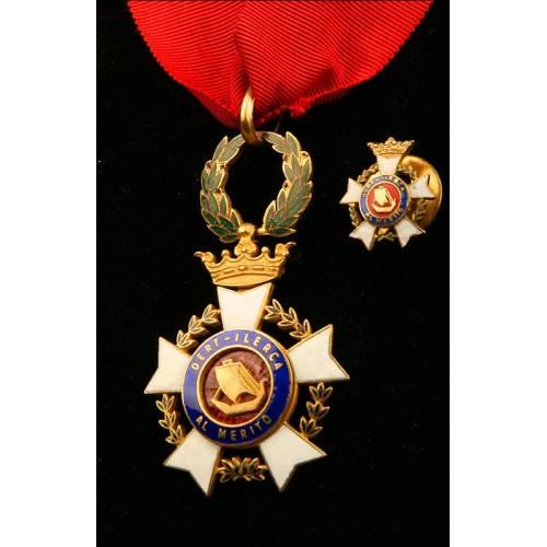España, Orden de Dert-Ilerca. Condecoración Formada por Cruz de Cuello y Miniatura. Años 60.