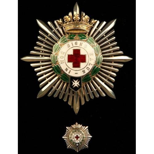 España, Orden de la Cruz Roja. Placa de Segunda Clase y Miniatura, en Plata Maciza. Años 60