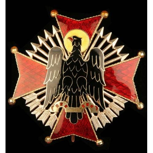 España, Placa de Comendador de la Orden de Cisneros. Plata maciza esmaltada. Años 60