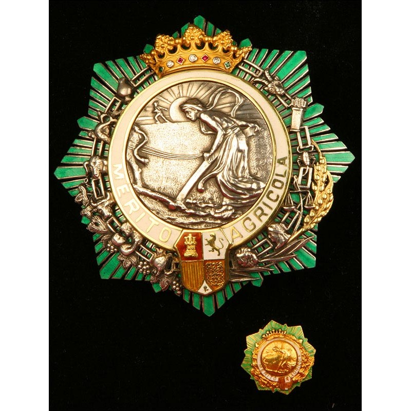 España, Orden al Mérito Agrícola. Placa de Comendador y Miniatura. Plata, Oro y Piedras Preciosas. Con Diploma de Concesión