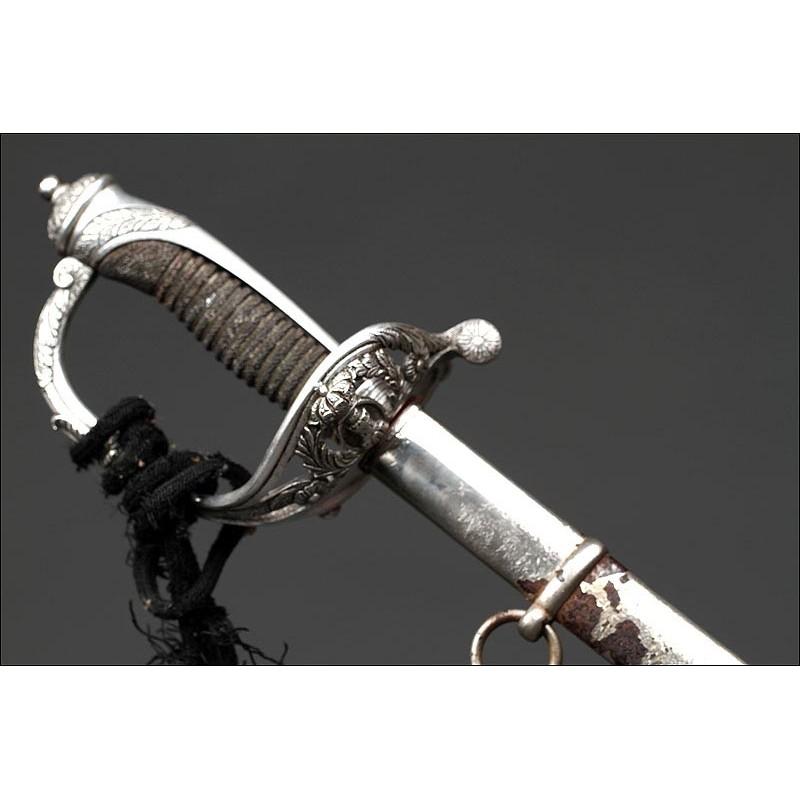 Espada Para Oficial de Ingenieros Fabricada en Toledo, Circa 1890. Con Vaina y Bien Conservada