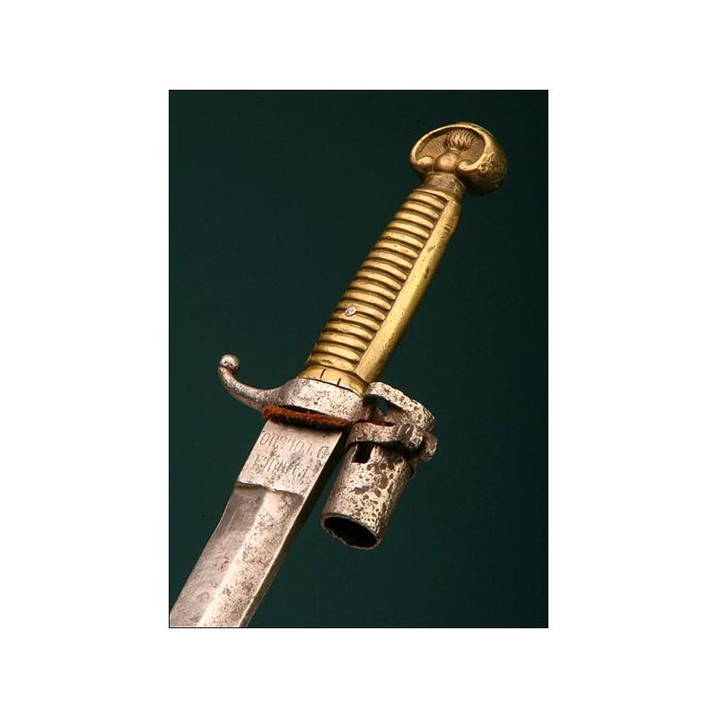 Genuino Machete-Bayoneta Modelo 1858 para artillero y soldado de Ingenieros