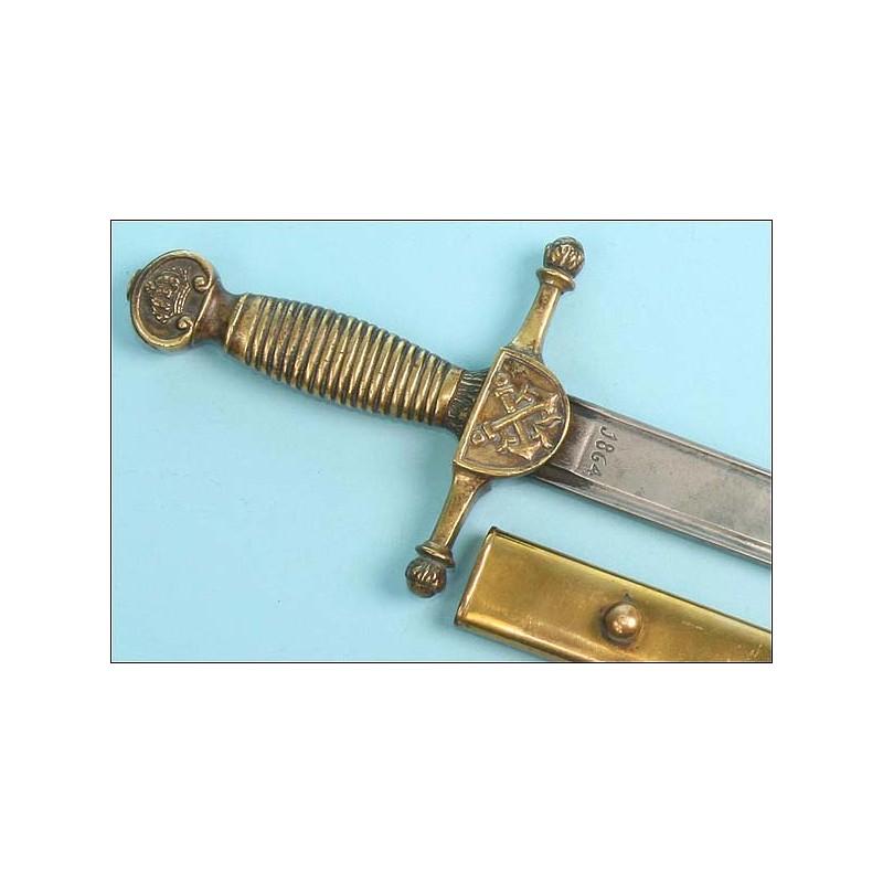 Raro machete español para cadete de artillero de Marina. Mod. 1836
