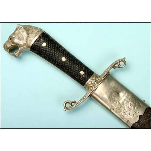 Rarísimo machete para Cuba. Cabeza de león. 1890