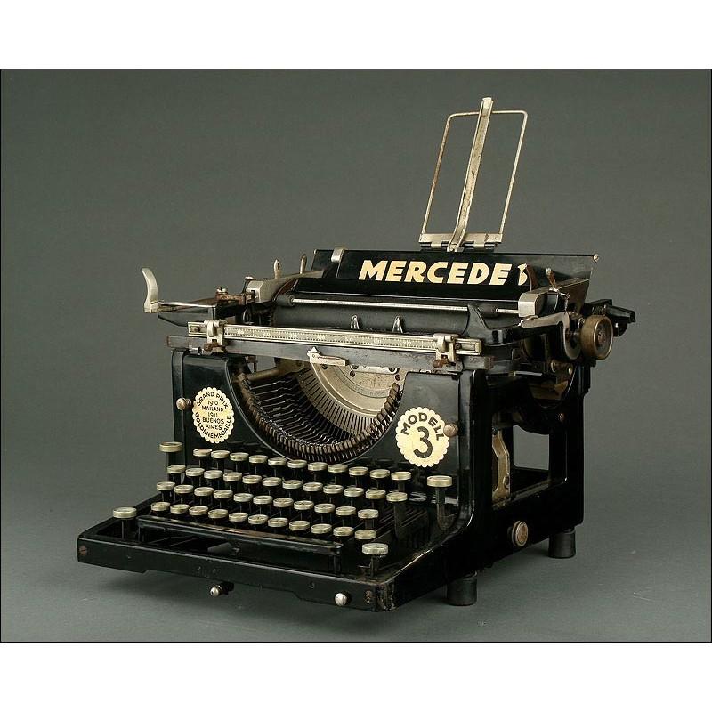 Máquina de Escribir Alemana Mercedes Nº 3,1922. Bien Conservada y en Perfecto Funcionamiento