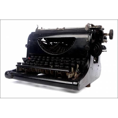 Rara Máquina de Escribir Fox, Estados Unidos, Ca. 1906. Con Teclado Español y Funcionando