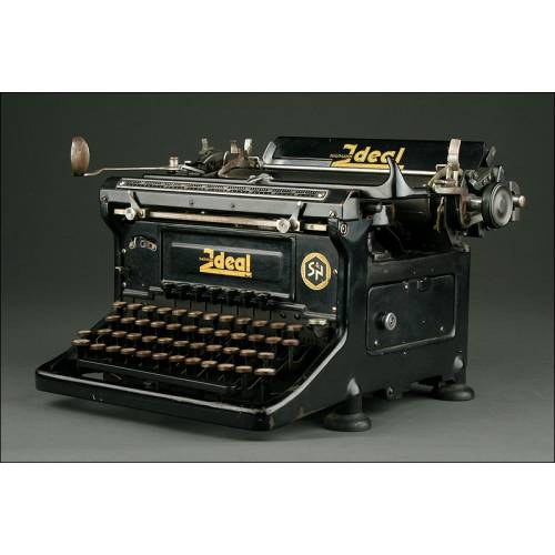 Elegante Máquina de Escribir Alemana Ideal D del Año 1945. Bien Conservada y Funcionando