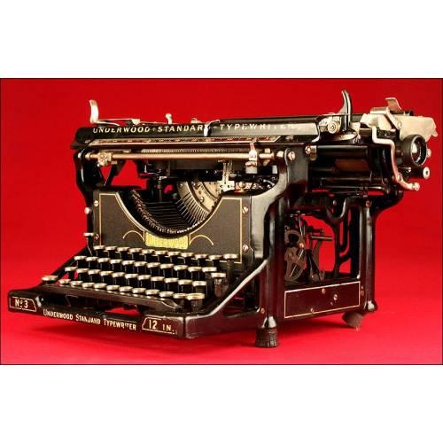 Preciosa Máquina de Escribir Marca Underwood Nº 3, 1912. Funcionando