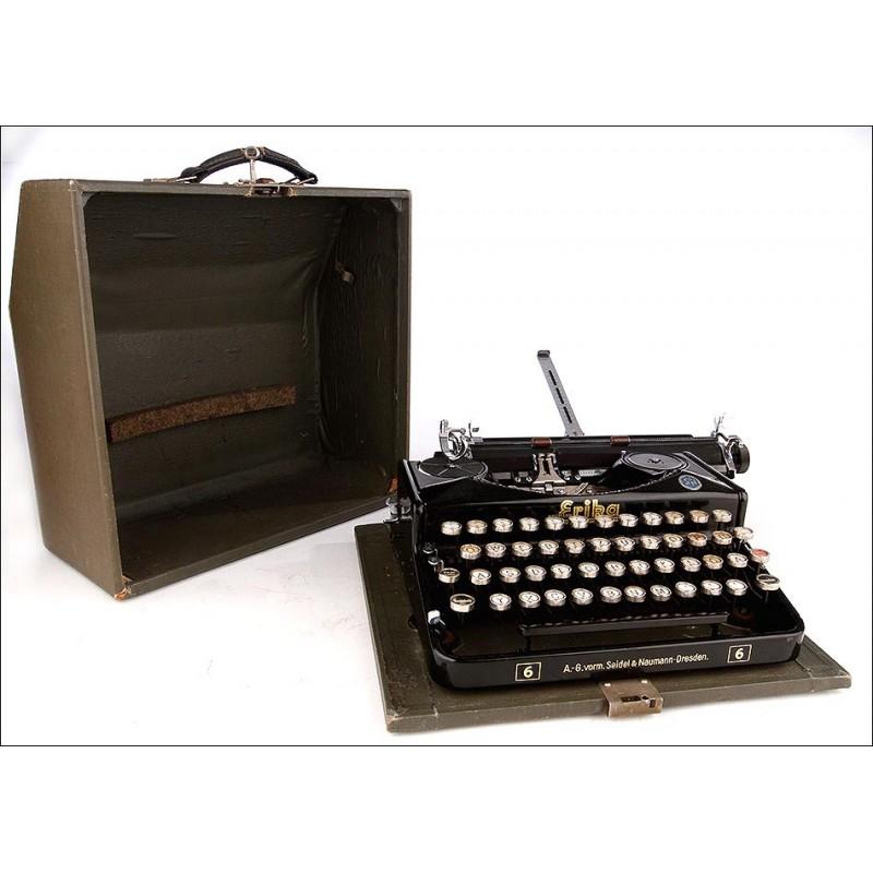 Máquina de Escribir Portátil Erika 6, Alemania, Años 40-50. Funciona Muy Bien