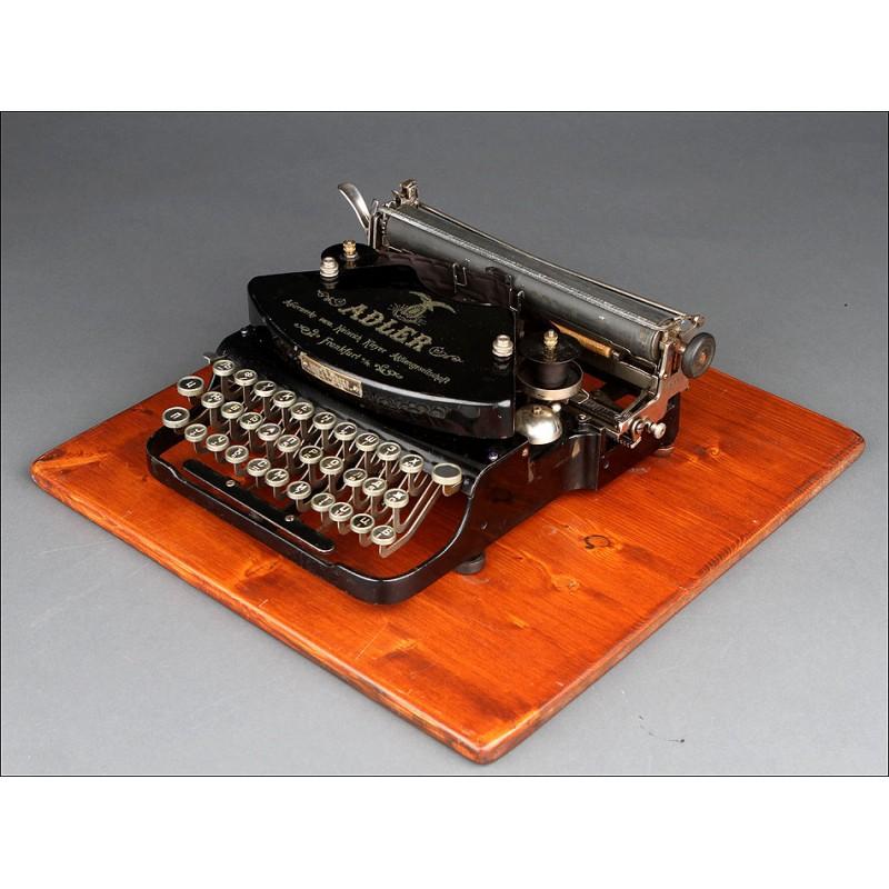 Rara Máquina de Escribir Adler con Teclado en Cirílico, Fabricada en Alemania en los Años 20. Funcionando