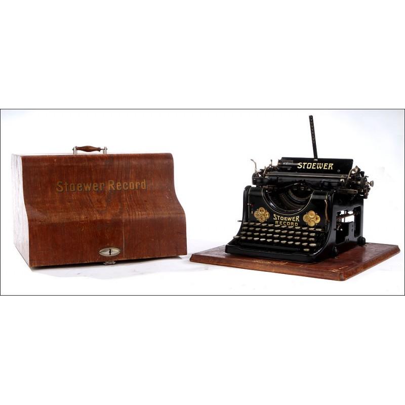 Máquina de Escribir Stoewer Record en Buen Estado y Funcionando. Año 1905, con Estuche Original