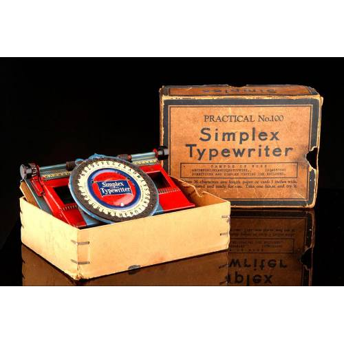 Máquina de Escribir de Bolsillo Simplex Nº 100, Fabricada en Nueva York en 1900. En su Caja Original