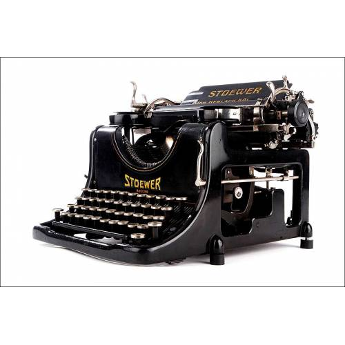 Preciosa Máquina de Escribir Stoewer Record Fabricada en Alemania en 1921. Funcionando Perfectamente