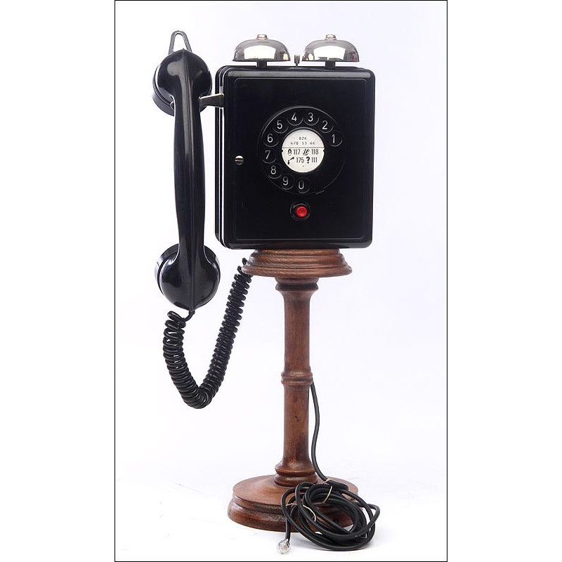 Precioso Teléfono Alemán de Pared Fabricado en los Años 40. Funcionando Perfectamente