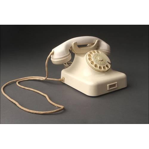Decorativo Teléfono Vintage Alemán, Fabricado en Baquelita Blanca en los Años 40. Funcionando