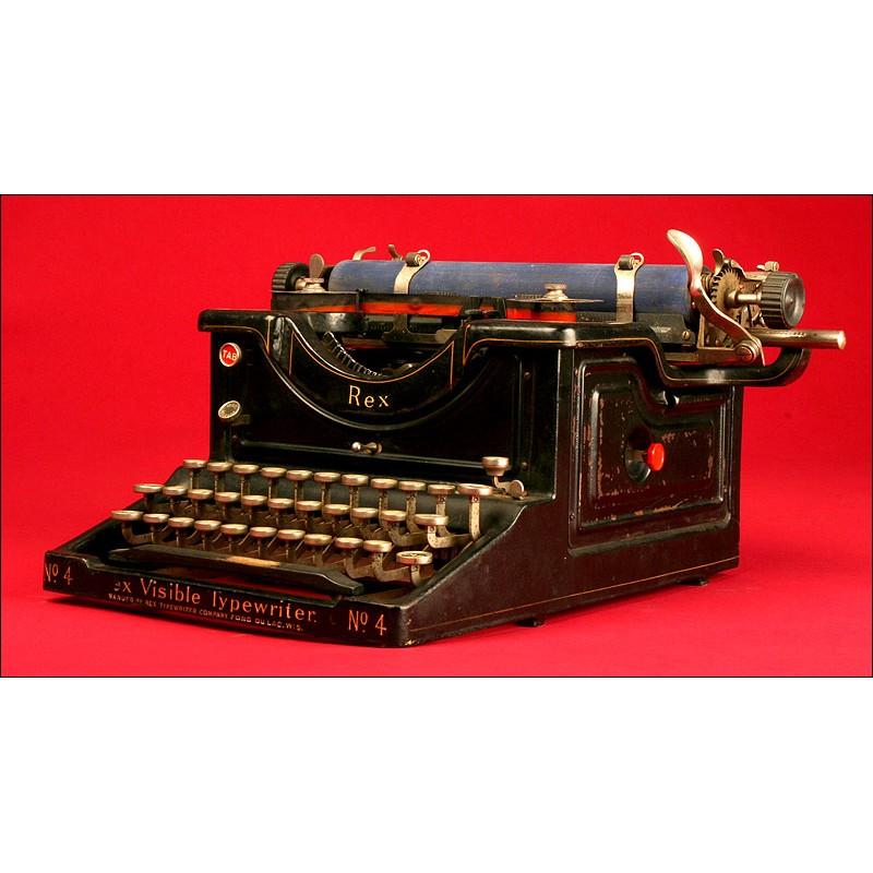 Rara Máquina de Escribir Rex Visible Nº 4. EE.UU., 1.914. Original y en Funcionamiento