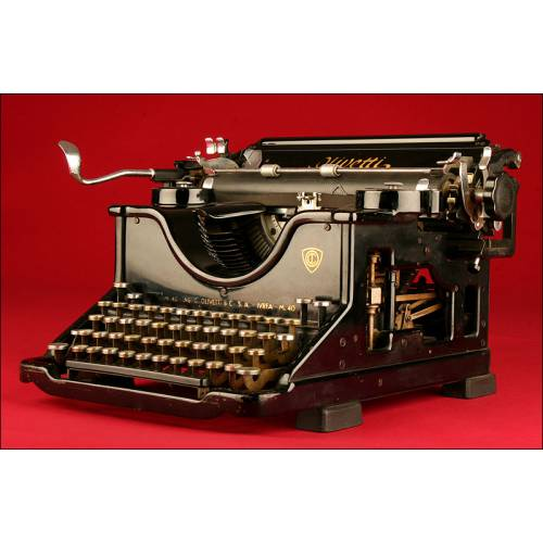 Máquina de Escribir Olivetti M40. Italia, 1.940. Bien Conservada, Funciona de Maravilla