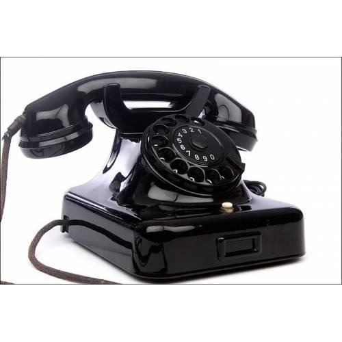 Elegante Teléfono Alemán de Baquelita Negra, Años 50. Adaptado a Línea Actual. Funcionando