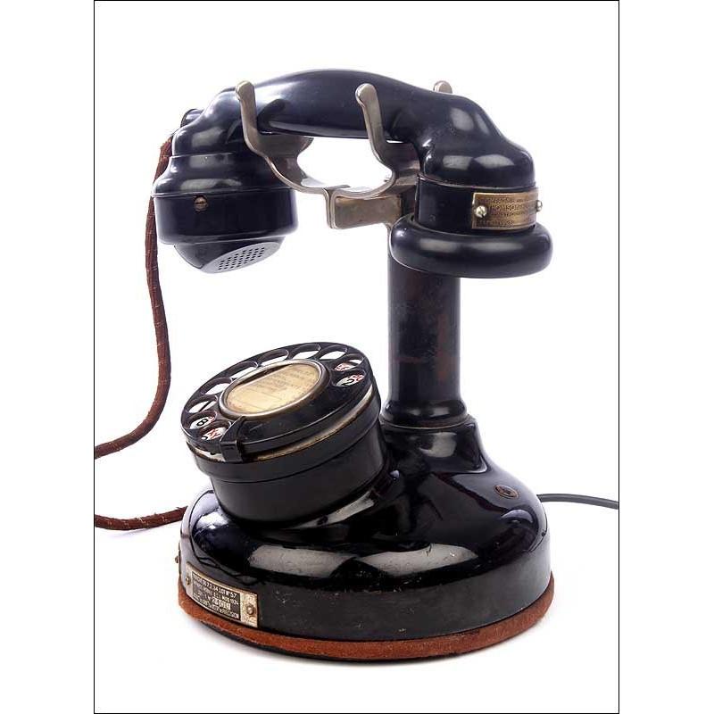 Raro Teléfono Americano Thompson Fabricado en los Años 20 para el Mercado Francés. Funcionando