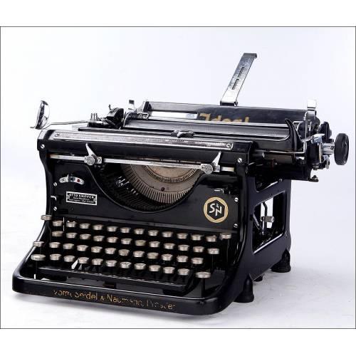 Hermosa Máquina de Escribir Antigua Ideal C en Funcionamiento. Alemania, Circa 1919