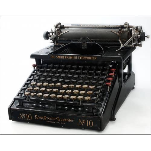 Preciosa Máquina de Escribir Antigua Smith Premier Nº 10 en Funcionamiento. EEUU, 1906