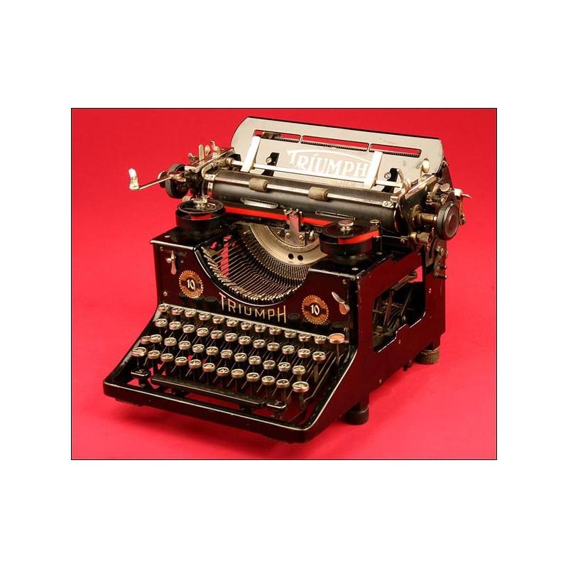 Máquina de Escribir Triumph Modelo 10 en Perfecto Estado Estético y Funcional, 1915.