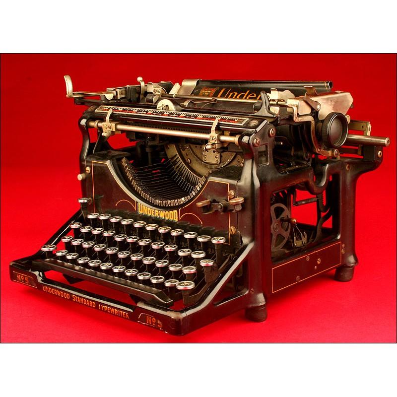Genuina Máquina de escribir Underwood 5, ca. 1915.
