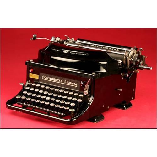 Elegante Máquina de Escribir Alemana Marca Continental Modelo Silenta. 1940