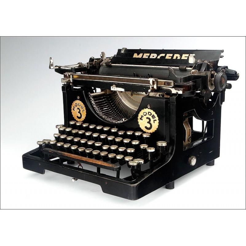 Antigua Máquina de Escribir Mercedes 3. Teclado español. En Funcionamiento. Alemania, Años 20
