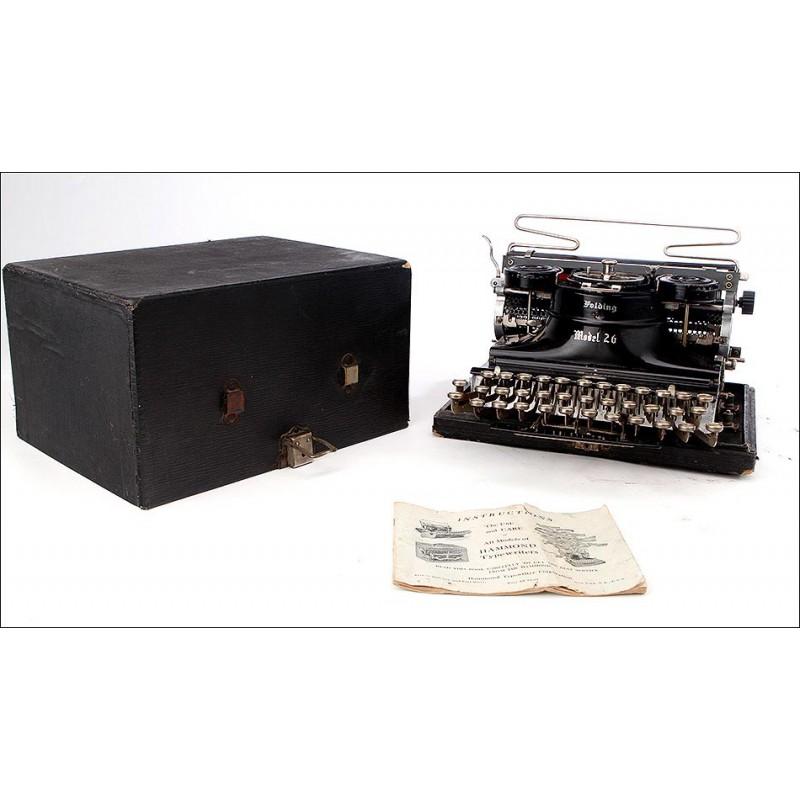 Impresionante Máquina de Escribir Hammond Plegable. EEUU, Años 20