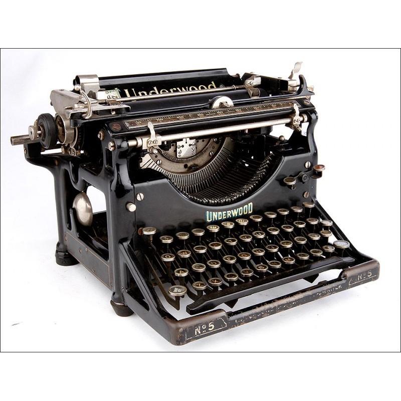 Impresionante Máquina de Escribir Underwood Nº5, Funcionando. EEUU, 1925