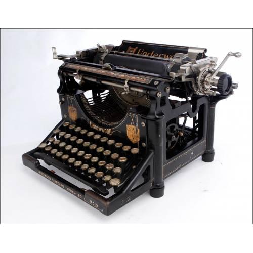 Histórica Máquina de Escribir Underwood Nº 5 Muy Bien Conservada. EEUU, 1908