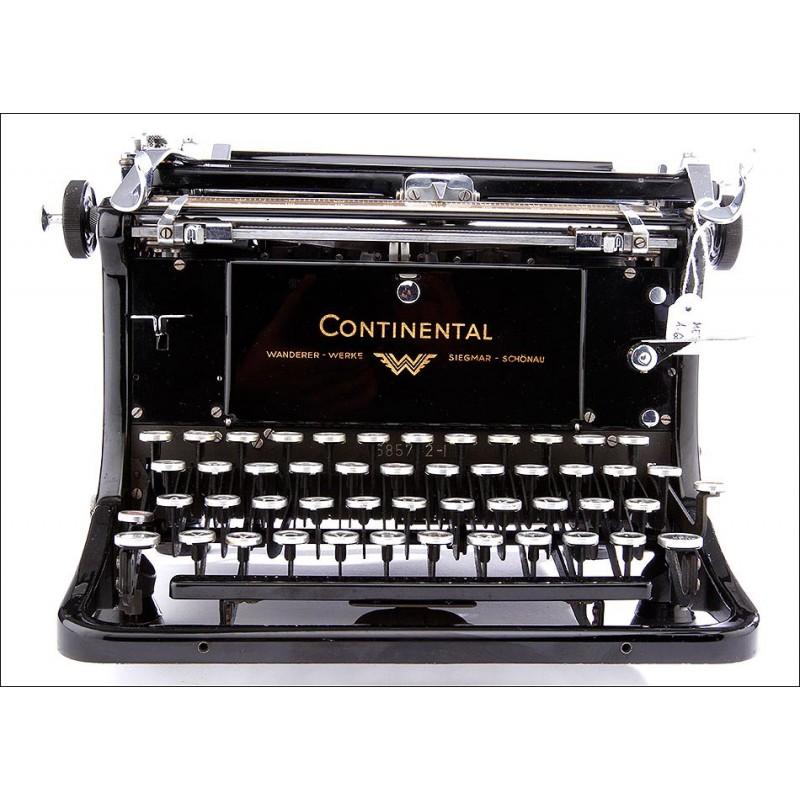 Preciosa Máquina de Escribir Continental en Muy Buen Estado. Alemania, Años 30