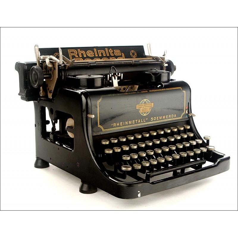 Elegante Máquina de Escribir Rheinita Record en Óptimas Condiciones. Alemania, 1932