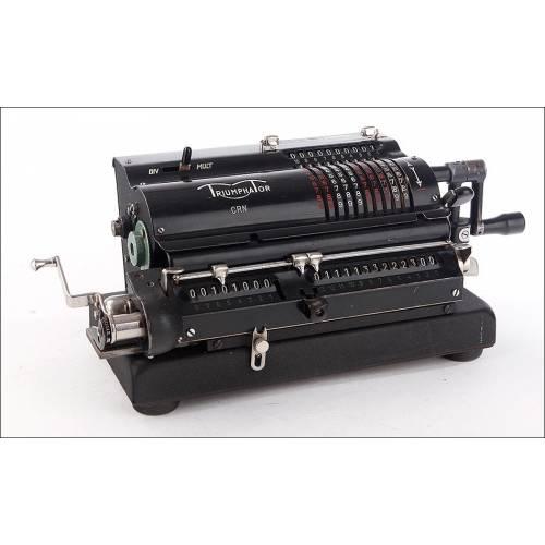 Fantástica Calculadora de Molinete Triumphator CRN. Alemania, Años 50