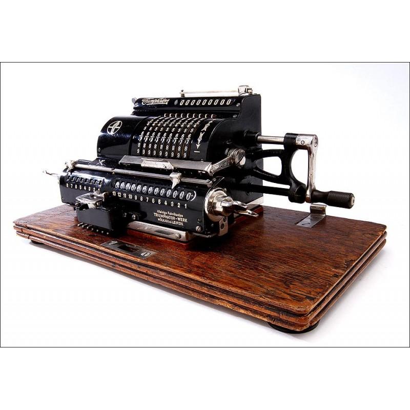 Calculadora Alemana Triumphator H Fabricada en los Años 20. Muy Decorativa y en Funcionamiento