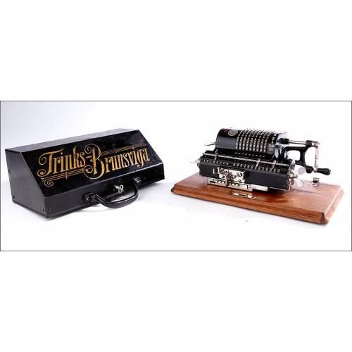 Atractiva Calculadora Trinks-Brunsviga en Buen Estado y Funcionando. Alemania, Circa 1910.