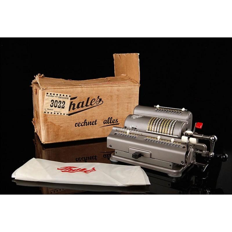 Fantástica Calculadora Alemana Thales Fabricada en 1953. Con Funda y Embalaje Original. Funcionando