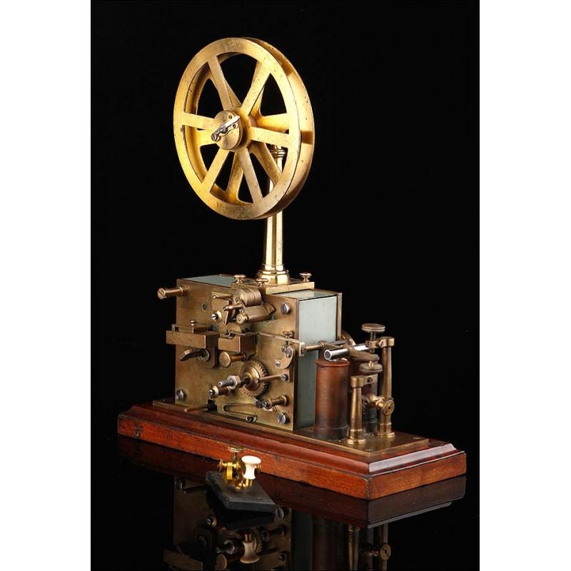 Impresionante estación telegráfica de finales del siglo XIX, circa 1880. Bien conservada y funcionando.