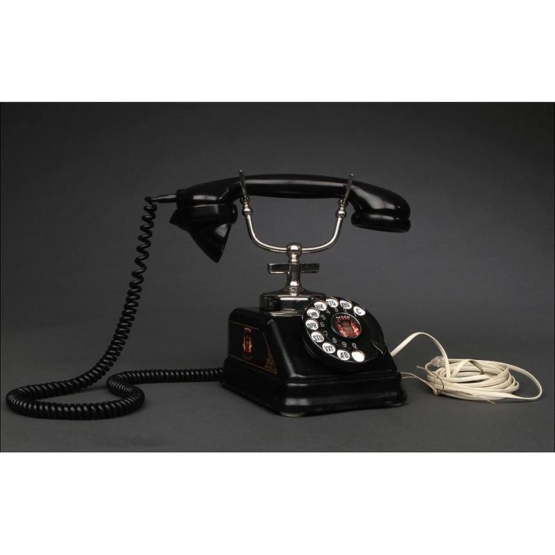 Original Teléfono Vintage Fabricado en Dinamarca en los Años30. Adaptado y Funcionando