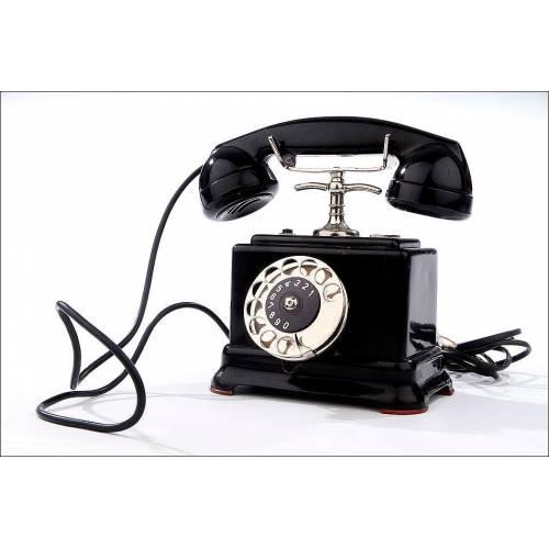 Teléfono Sueco Ericsson Fabricado en los Años 30. Adaptado a la Línea Telefónica y Funcionando