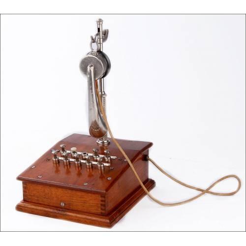 Antiguo Teléfono Centralita en Madera Maciza y Metal Cromado. Francia, Circa 1900