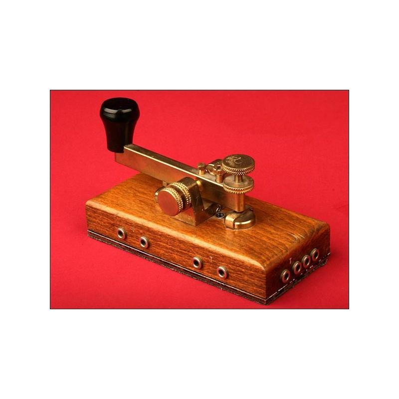 Llave telegráfica Morse Original, 1870-1900.