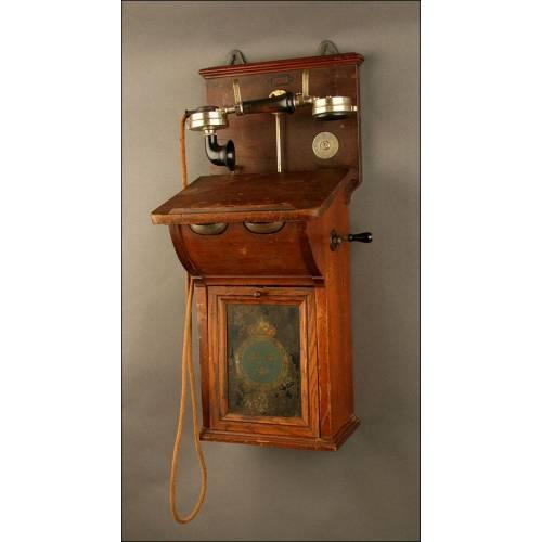 Antiguo Teléfono de Pared Sueco Telegraf Verkets Verkstad. Estocolmo, ca. 1920.