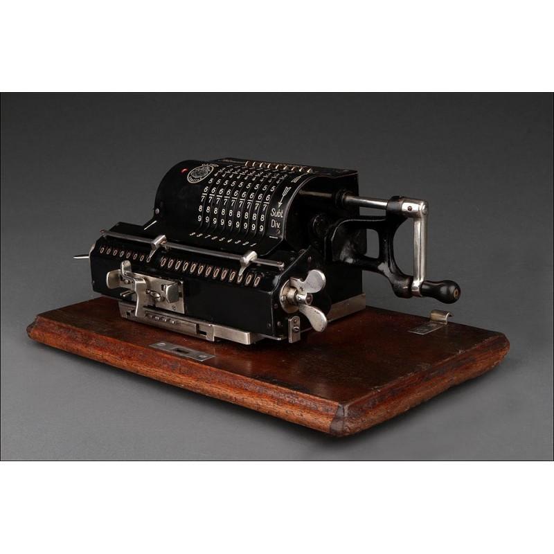 Magnífica Calculadora Alemana Brunsviga, Circa 1920. En Muy Buen Estado y Funcionando Perfectamente