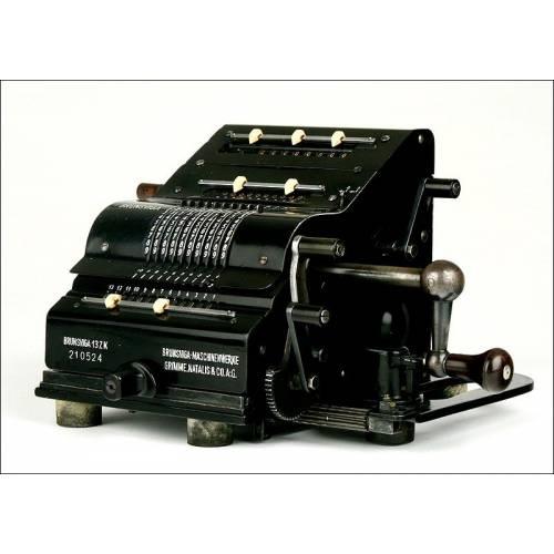 Magnífica Calculadora Alemana Brunsviga 13ZK, 1930. Funcionando y con Instrucciones