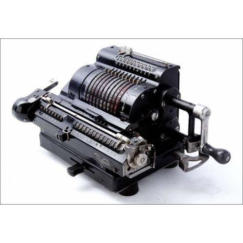 Antigua Calculadora Mecánica Triumphator H3 en Funcionamiento. Alemania, 1929