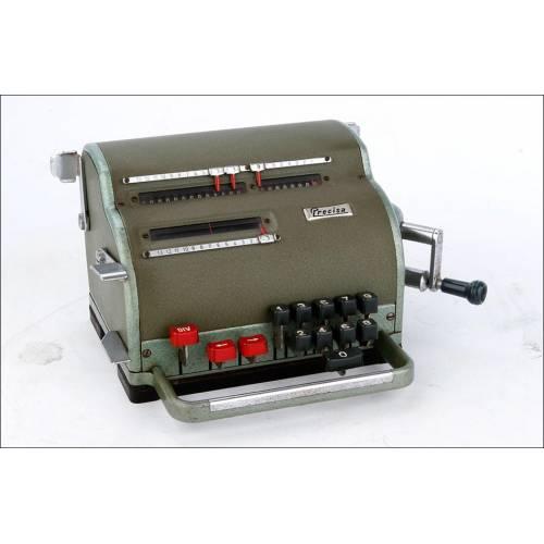 Calculadora Vintage Precisa 117 en Funcionamiento. Suiza, Años 60