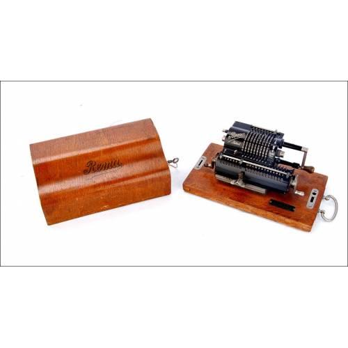 Antigua Calculadora Mecánica Rema Mod. 1 en Funcionamiento. Alemania, Años 20